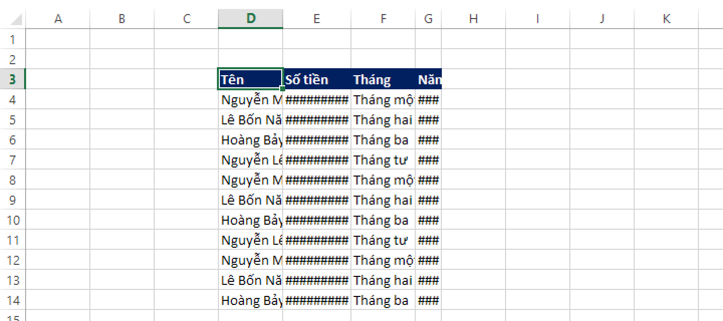 RỘNG CỦA CỘT TRONG EXCEL